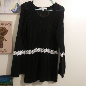 Black knit sweater with bell sleeves